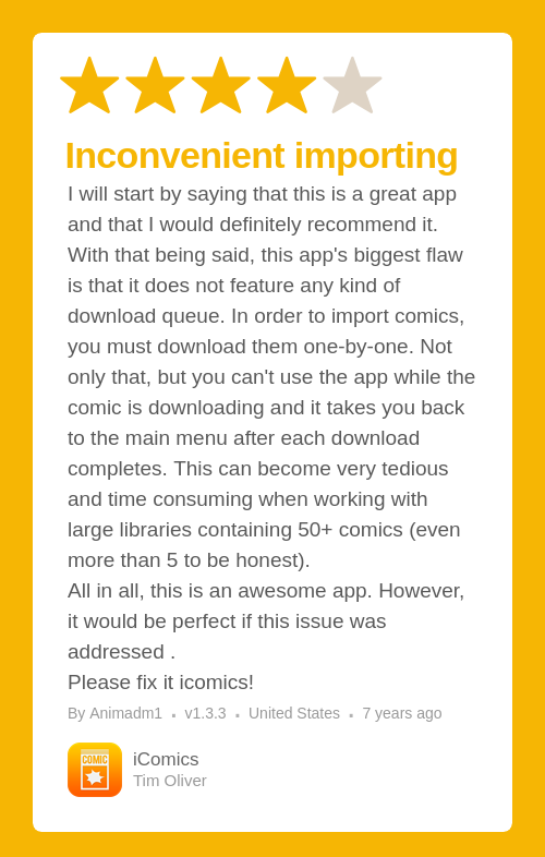 ★★★★☆ iComics - The Comic Reader for iPad and iPhone review on the App Store