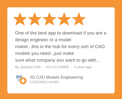 ★★★★★ 3D CAD Models Engineering review on Google Play