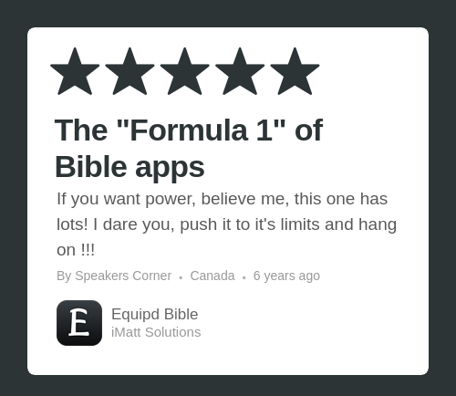 Equipd Bible review on the App Store