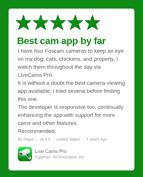Live Cams Pro review on the App Store